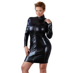 Kleid im Wetlook mit 2-Wege-Zip und Raffung
