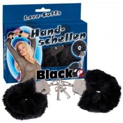 """Handschellen """"Love Cuffs"""", aus Metall und Plüsch, schwarz"""