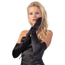 Handschuhe aus Stretch-Satin, schwarz