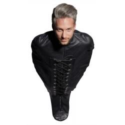 Bondage-Schlafsack aus Leder mit Reißverschlüssen und Schnürung