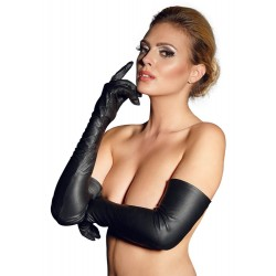 Handschuhe aus Leder mit Reißverschluss und Gummizug