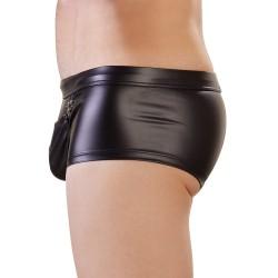Pants im schwarzen Mattlook, unter dem Beutel Öffnung für Penis/Hoden