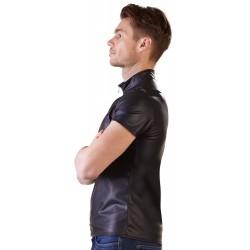 Shirt im Matt-Look mit kurzem Arm und Reißverschluss
