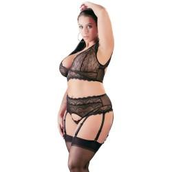 Bralette plus Strapsstring aus schwarzer Spitze, Plus Size