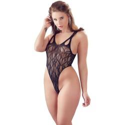 Body aus elastischem Netzmaterial, hoher Beinausschnitt